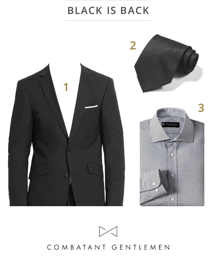 Zac Efron's Black Suit Black Tie Look