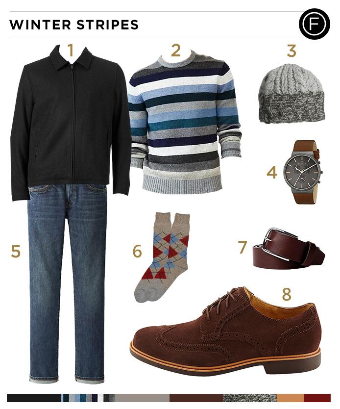 Ben Affleck's Winter Stripes Look