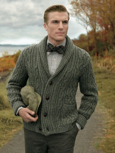 Navy Wool Cable Knit Cardigan 121
