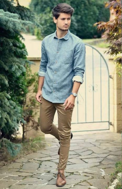 Men S Chambray And Denim Style Famous Outfits