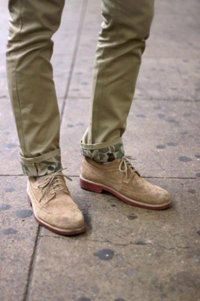 Beige Khakis Black Shoes